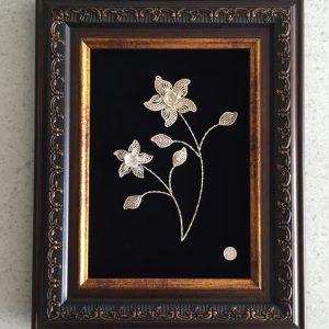 قاب گل نقره ملیله-بی ریایی