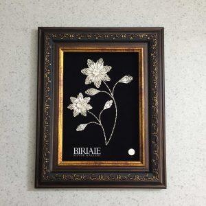 قاب گل نقره ملیله بی ریایی